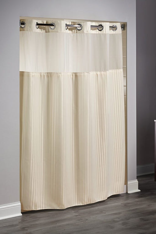Double H Hookless beige shower curtain with replaceable liner and translucent window. Polyester shower curtain with magnets. Price per dozen