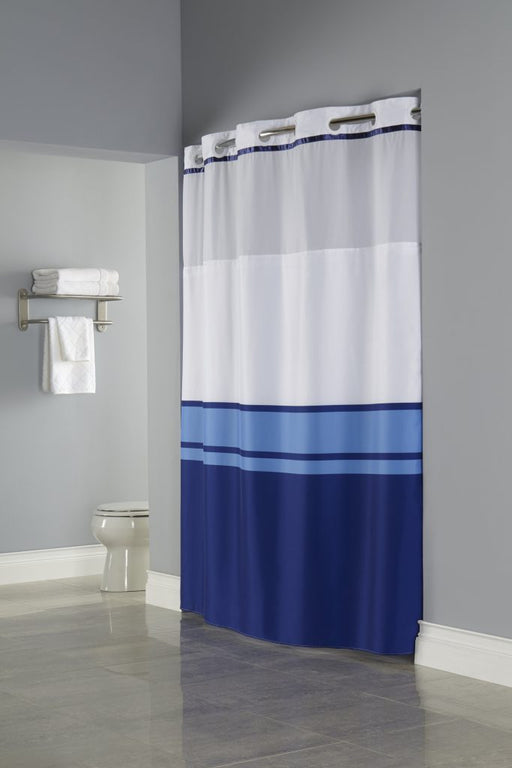 71 x 77 - Brooks Hookless blue on white shower curtain with replaceable liner and translucent window. Polyester shower curtain