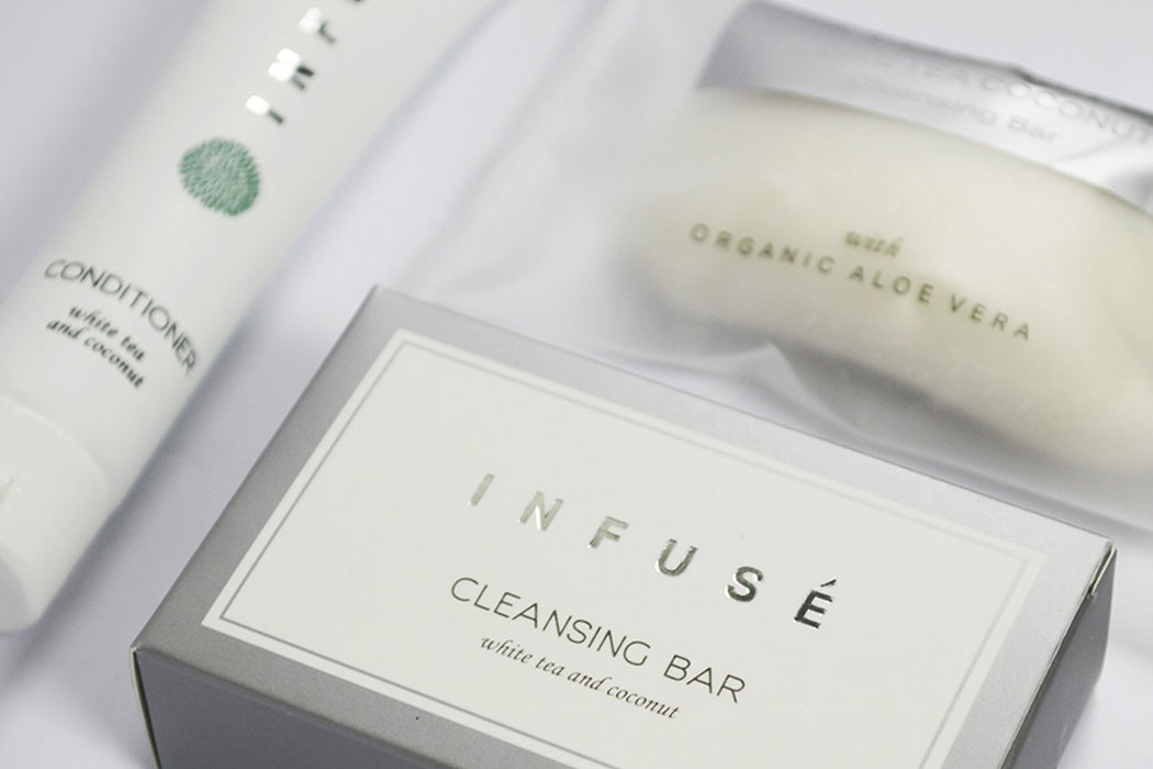 Hotel facial soap. Infuse collection. 20 g cleansing bar, Small sachet. From vegan-friendly, white tea and coconut fragrance collection. 400 Items pack, 0.23 USD per item