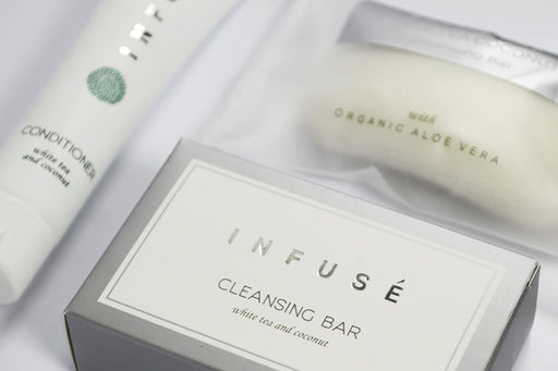 Hotel soap. Infuse collection. 35g Boxed cleansing soap. From vegan-friendly, white tea and coconut fragrance collection. 200 Items pack, 0.55 USD per item