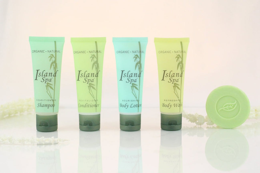 Hotel wholesale body wash. Island Spa collection. 1.0 oz, 30 ml. Tube Flip cap. 300 Items pack, 0.40 USD per item