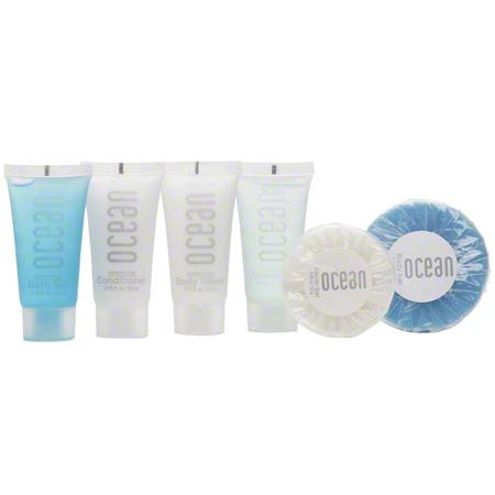Hotel facial soap. Clear pleat round bar. Ocean collection, 0.88 oz/25 gr. tube 400 items pack, 0.154 USD per item