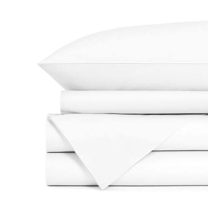 42x40 Queen size pillowcase. Luxury centium satin hotel white bed sheets in bulk. 65% Cotton, 35% microflament, crease resistant. Case pack of 72 pieces