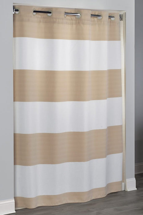 71x77 - Sonoma Stripe Hookless white and beige shower curtain for shower stalls. Plain polyester shower curtain with replaceable liner. Price per dozen
