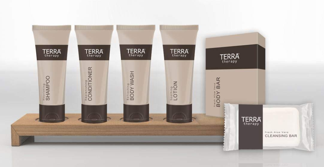 Hotel facial soap. Terra therapy-cleansing facial bar. 28 g, 0.98 oz Boxed. 250 items pack, 0.44 USD per item