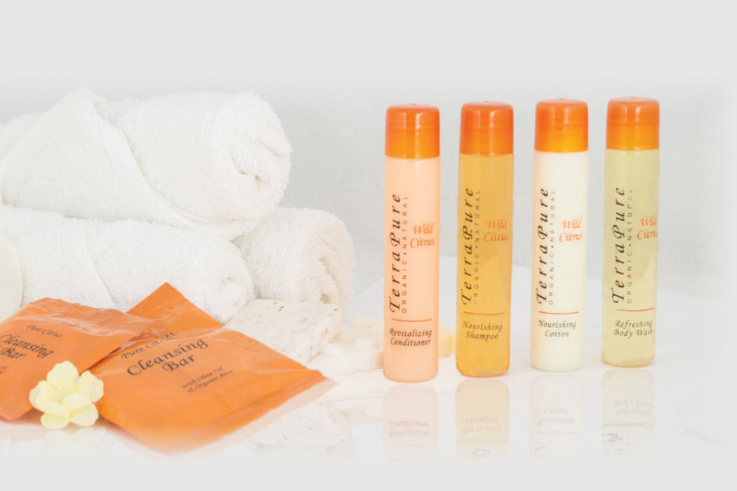 Hotel personal care items. Terra Pure Wild Citrus collection, sachet. 500 Items pack, 0.29 USD per item