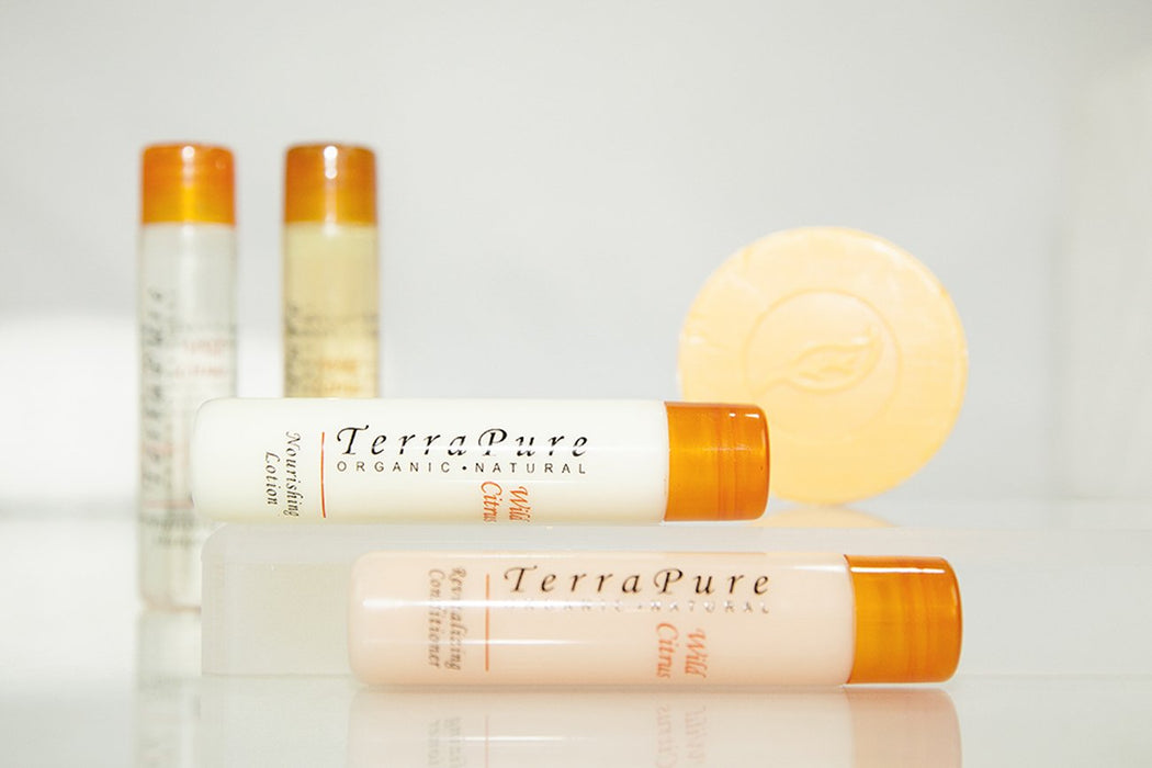 Hotel shampoo. Terra Pure Wild Citrus collection. 1 oz/30 ml. Flip cap. 300 Items pack, 0.43 USD per item