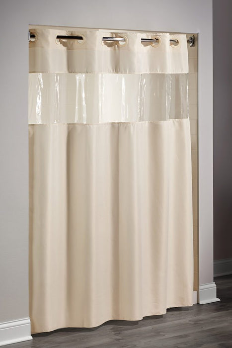 View from the top hotel shower curtain beige