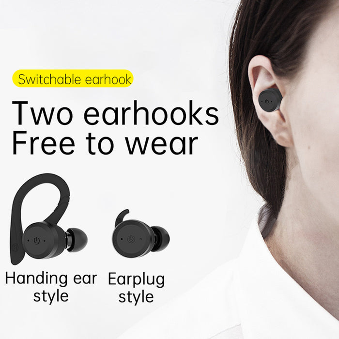 CYBORIS Bluetooth 5.0 Headset TWS Dual Bluetooth Headset True Wireless IPX7 Waterproof with Ear-hook In-ear Noise Canceling Headphones