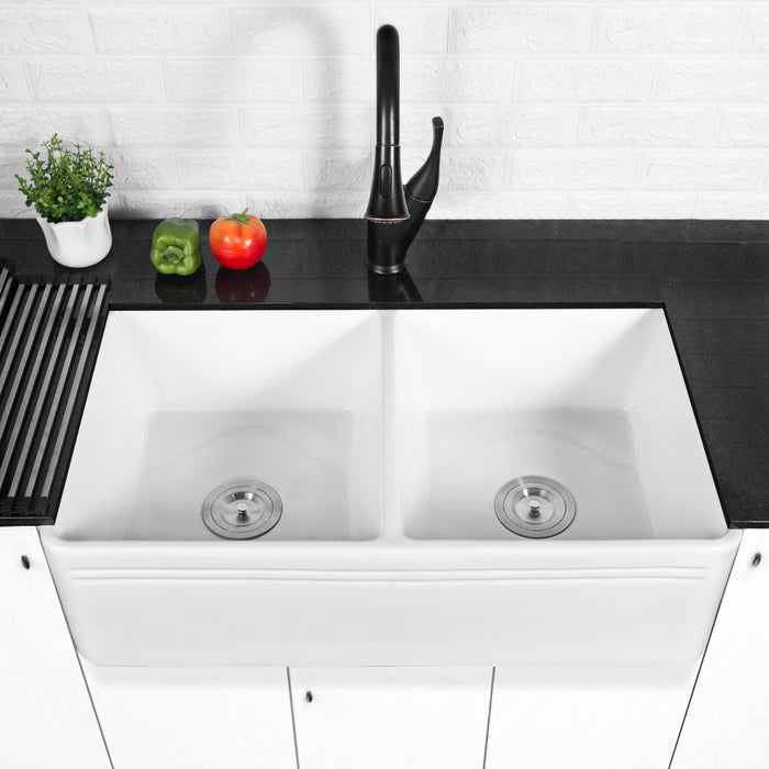 Lordear Framhouse Kitchen Sink White Fireclay Aprom Front Sink