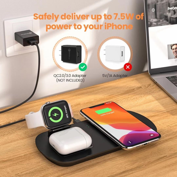 3 in 1 Wireless Charging Stand For Apple Watch 5 4 3 2 1 iPhone 11 X XS XR 8 Airpods Pro 10W Qi Fast Charger Dock Station