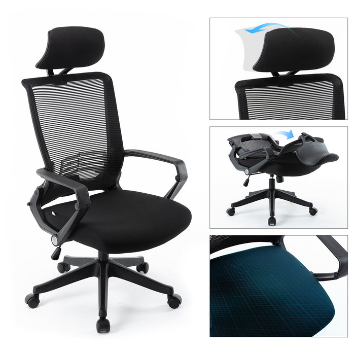 Mesh Office Chair, High Back Chair - Adjustable Headrest with Arms,  Lumbar Support