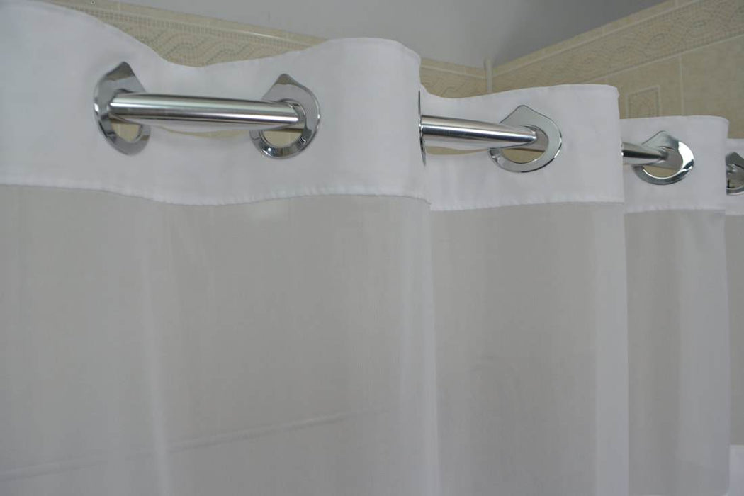 Duo Poly Hang2it Shower Curtains Wholesale. Polyester shower curtain with translucent window and snap away liner. Price per dozen