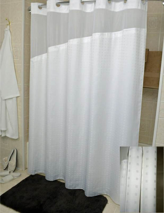 71x77 - Holiday Hang2it Shower Curtains. White polyester shower curtain with window and liner. Price per dozen