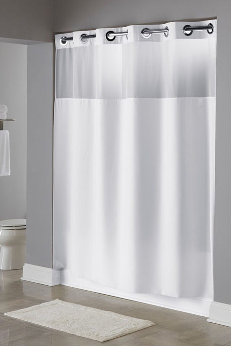 Illusion white shower curtain