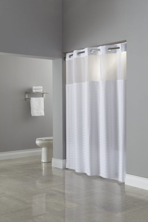 Hookless hotel shower curtain with liner and window