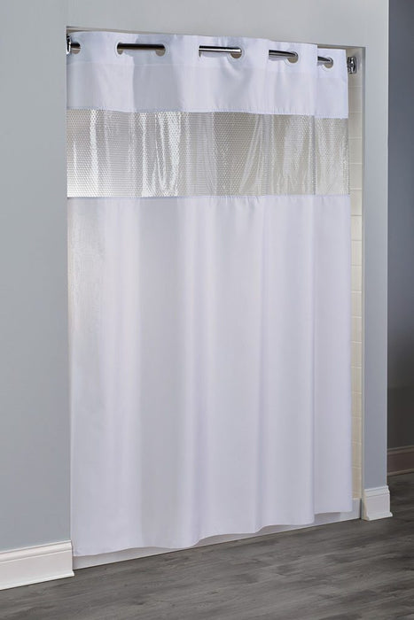 Major Hookless shower curtain. Polyester shower curtain with vinyl window. Price per dozen