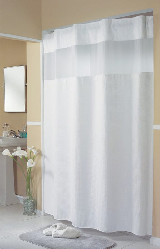 71 x 77 - Mini waffle white shower curtain with replaceable liner and translucent window. Polyester shower curtain