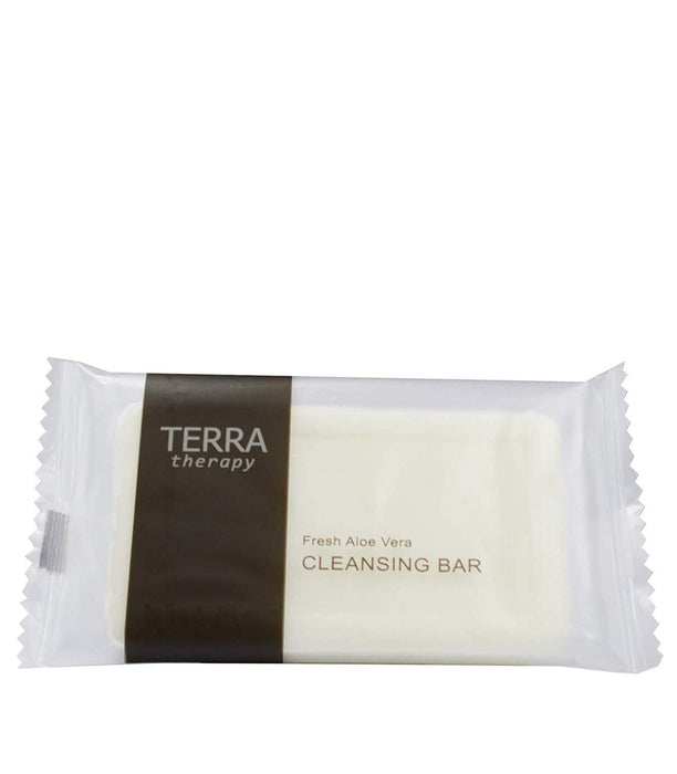 Hotel soaps. Terra therapy-cleansing facial bar. 28 g, 0.98 oz sachet. 500 items pack, 0.24 USD per item