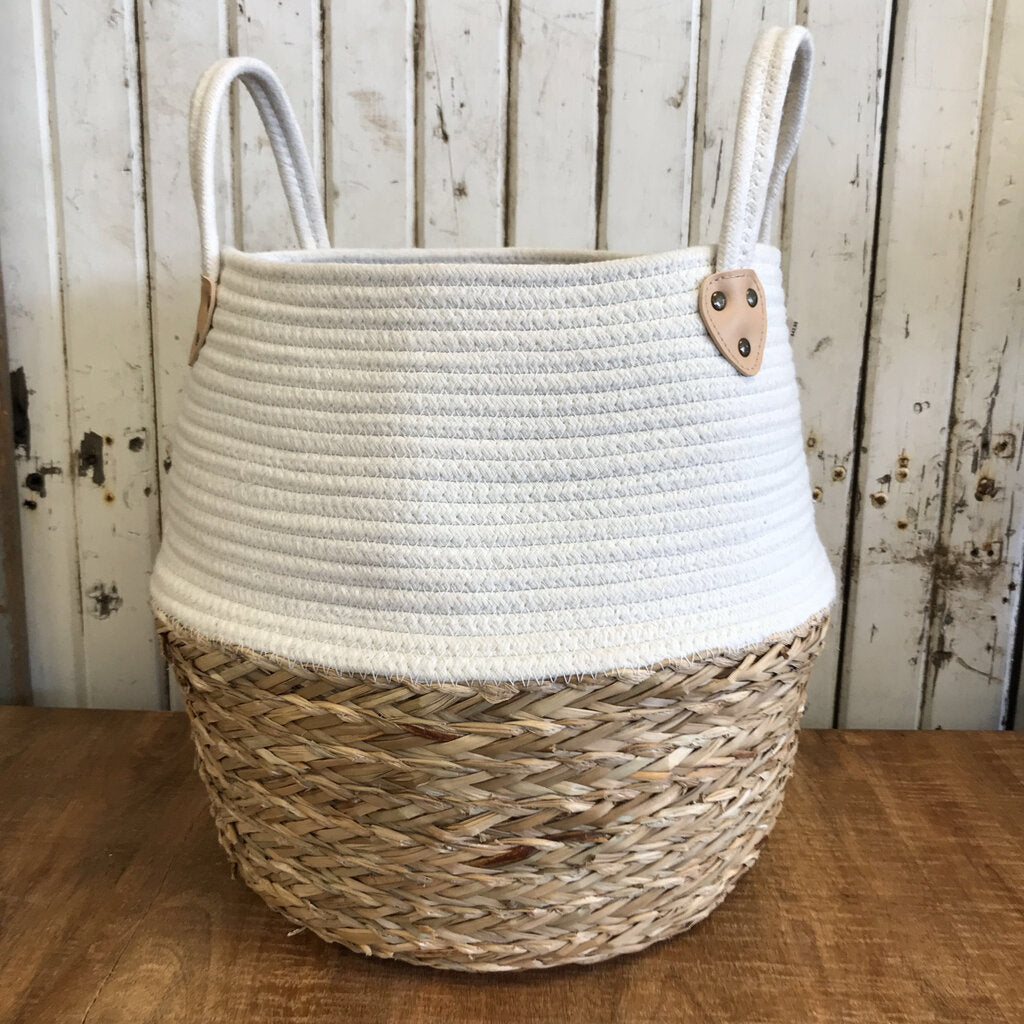 White Two Toned Basket (Lg.) 15 x 18 1/2