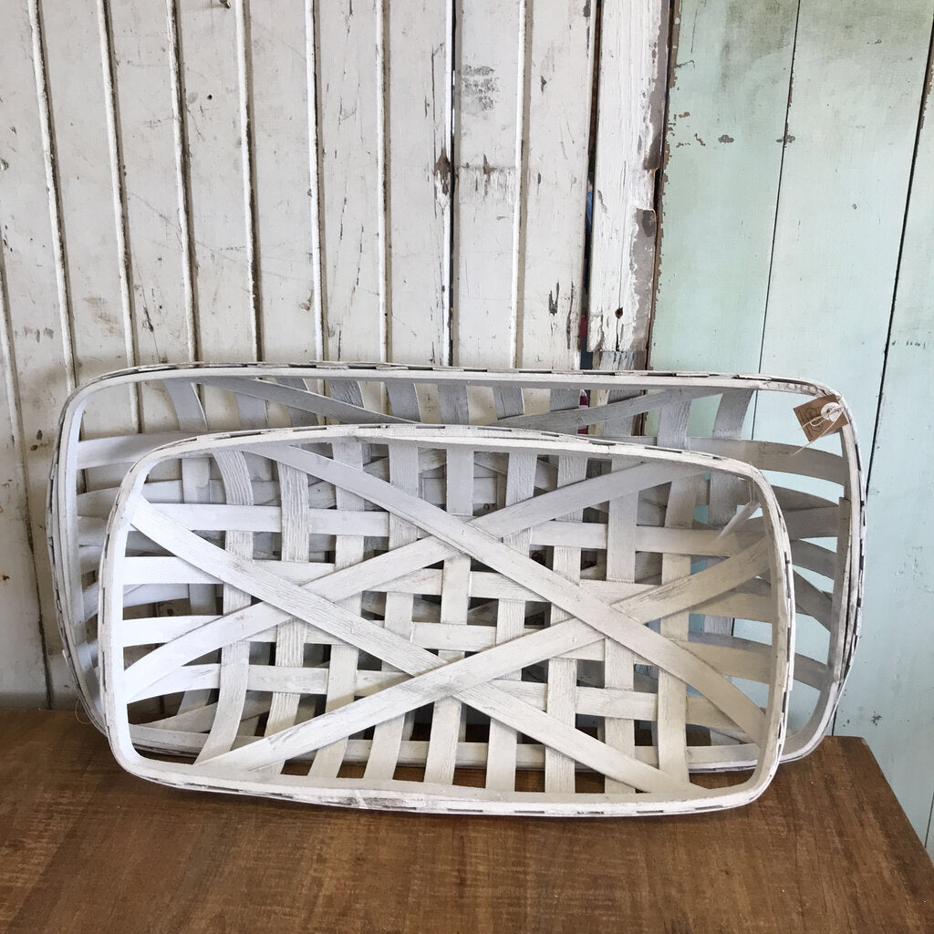 "White Rectangle Tobacco Basket (Lg.)  31""  X 16 1/2 """