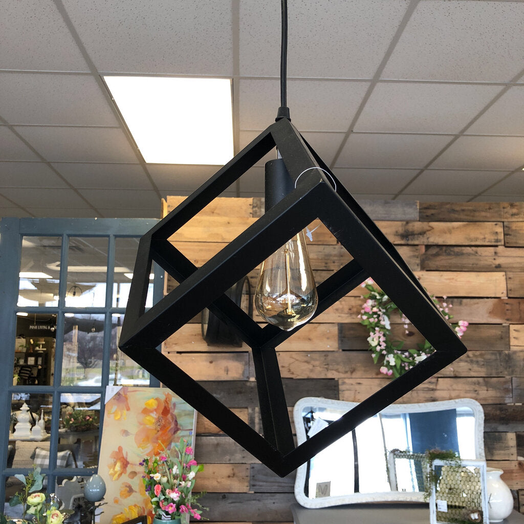 "11"" Industrial Iron Geometric Pendant Light, 1-Bulb"