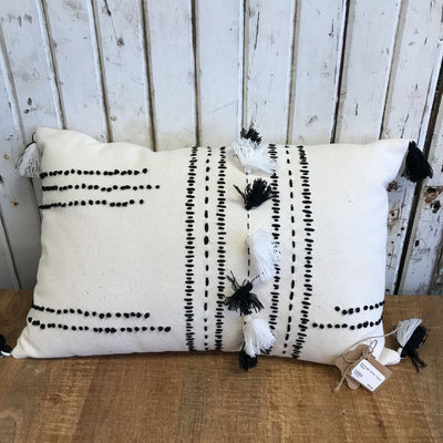 Rectangle White Tassel Pillow 12x20