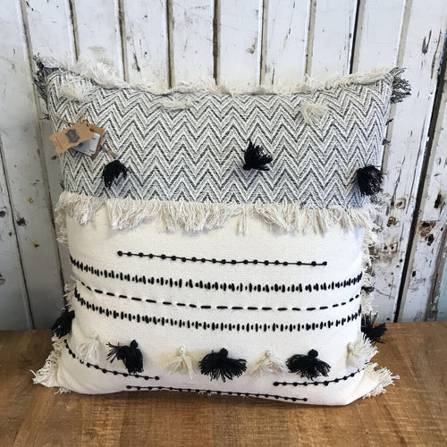 Square White Tassel Pillow 18x18