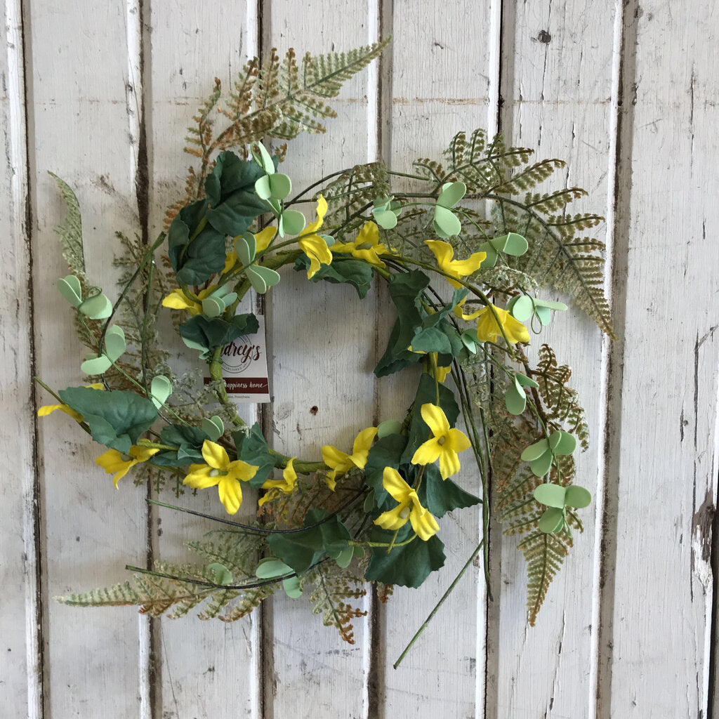 Candle Ring - Forsythia, Ferns, Green Leaves 9""