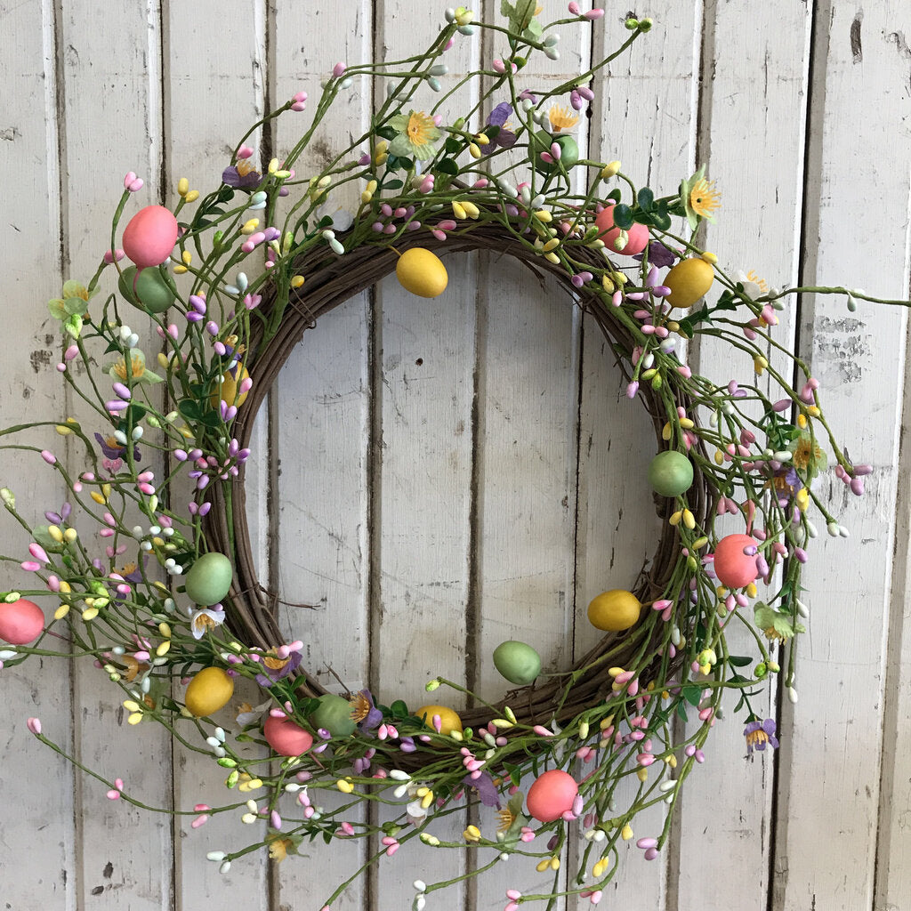 Wreath - Pastel Berries & Eggs  20""