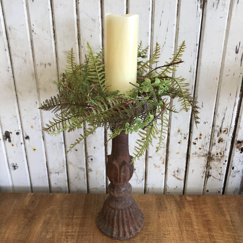 Candle Ring - Ferns & Foliage 14""