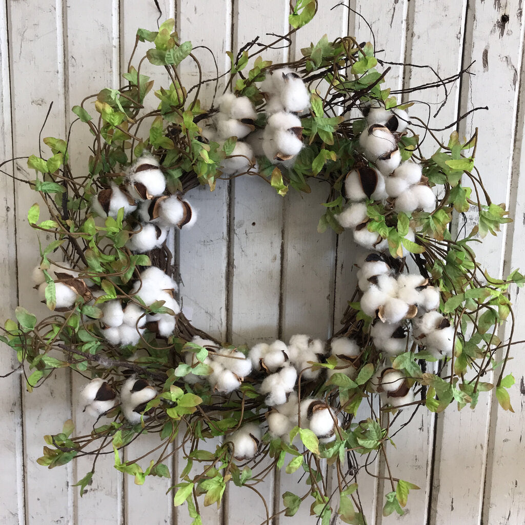 Wreath - Twig Base Cotton Mini Green  24""