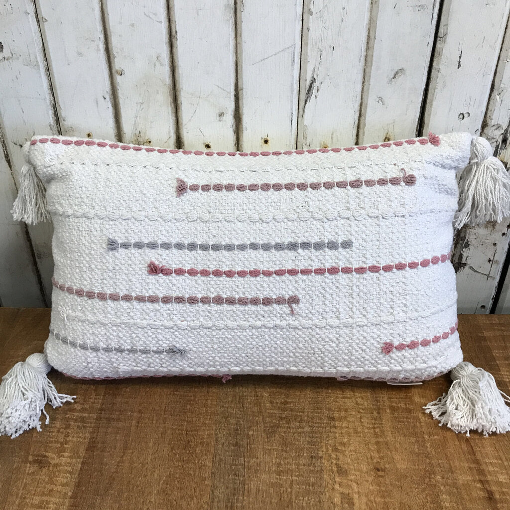 Pillow-Blush with Tassels 18 x 10