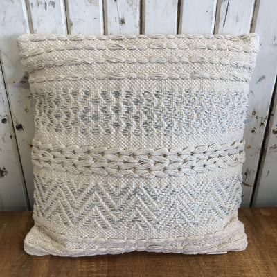 Pillow - Knitted, Silver Accents 18x18