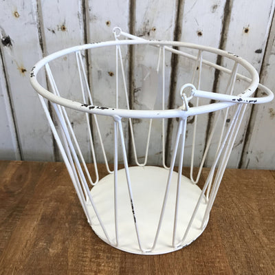 "White Metal Bucket - Medium 8""T x 9""W"