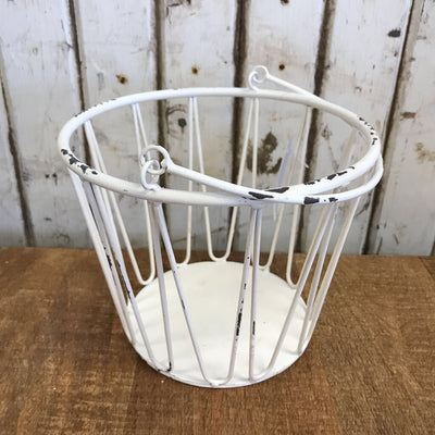 "White Metal Bucket - Small 7""W x 6""T"