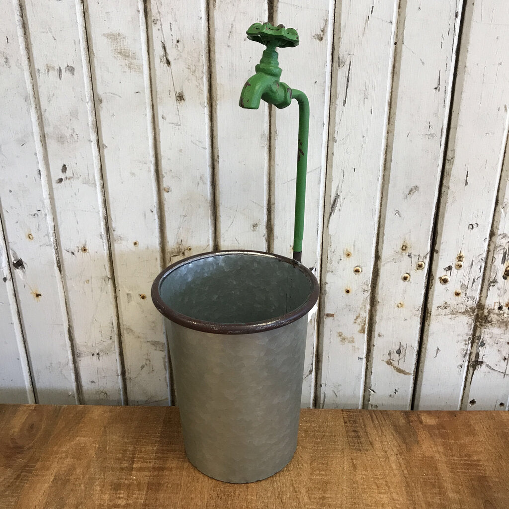 Metal Planter Bucket w/ Faucet - Medium 18.5""