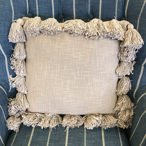 Pillow - Taupe Tassels 16x16