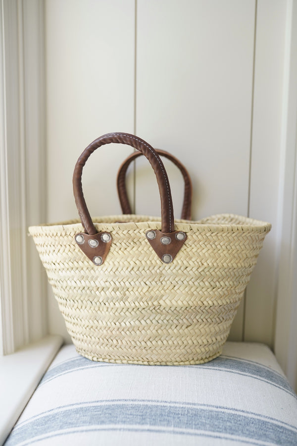 Natural Market Basket with Leather Handle (Small)