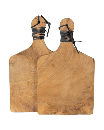 Roman Leather Serving Board Set