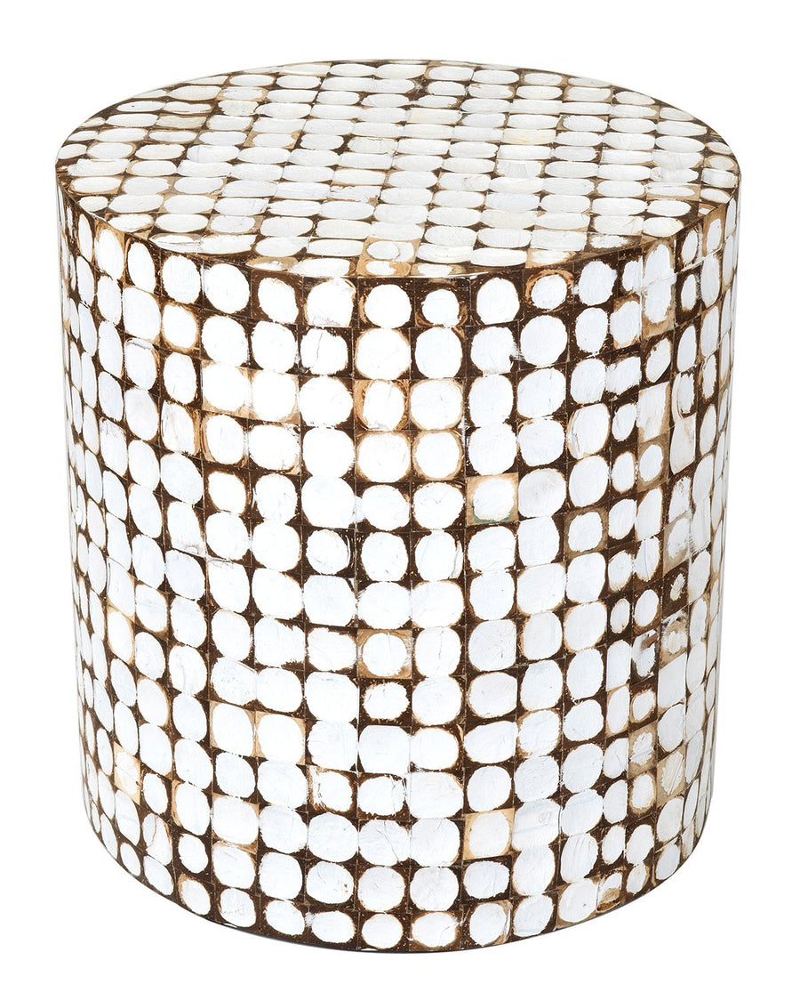 White Coconut Shell Accent Table
