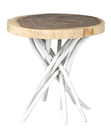 White Teak Accent Table