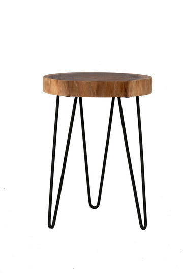 Brown Teak Accent Table