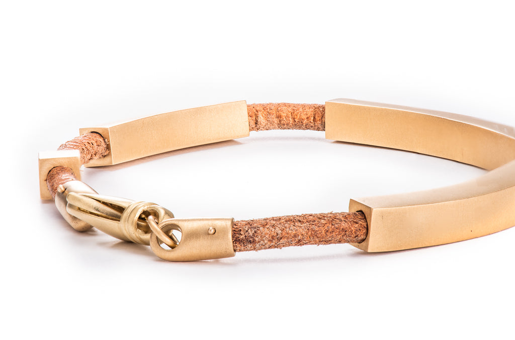4 Gold Bar / Leather Bracelet w/ 22K Yellow Gold