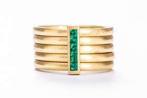 5 Band Emerald Ring w/ 18K Green Gold