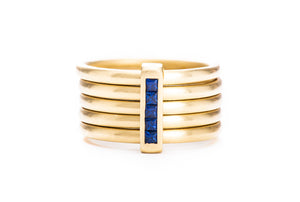 5 Band Sapphire Ring w/ 18K Yellow Gold