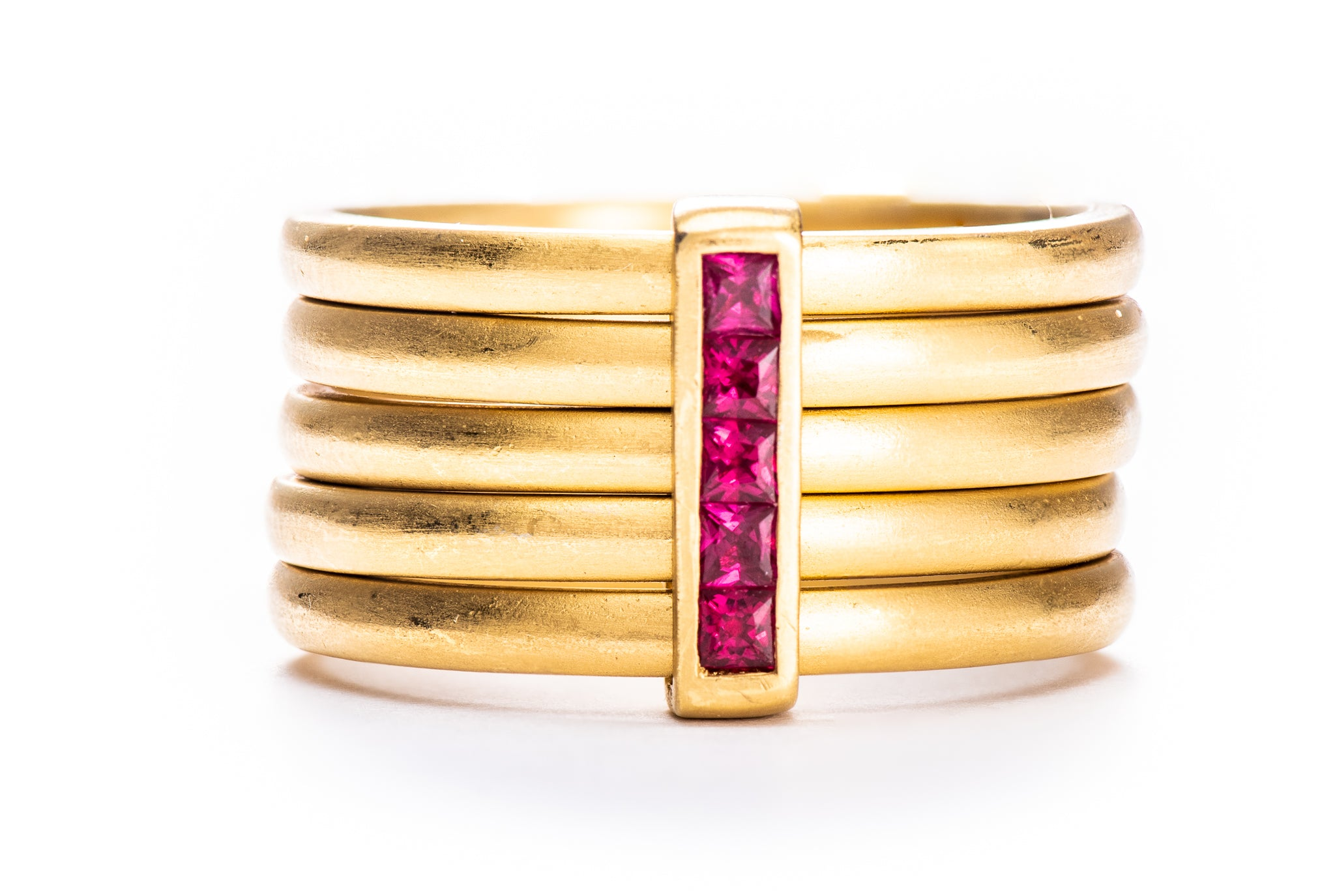 5 Row Ruby Ring w/ 22K Yellow Gold