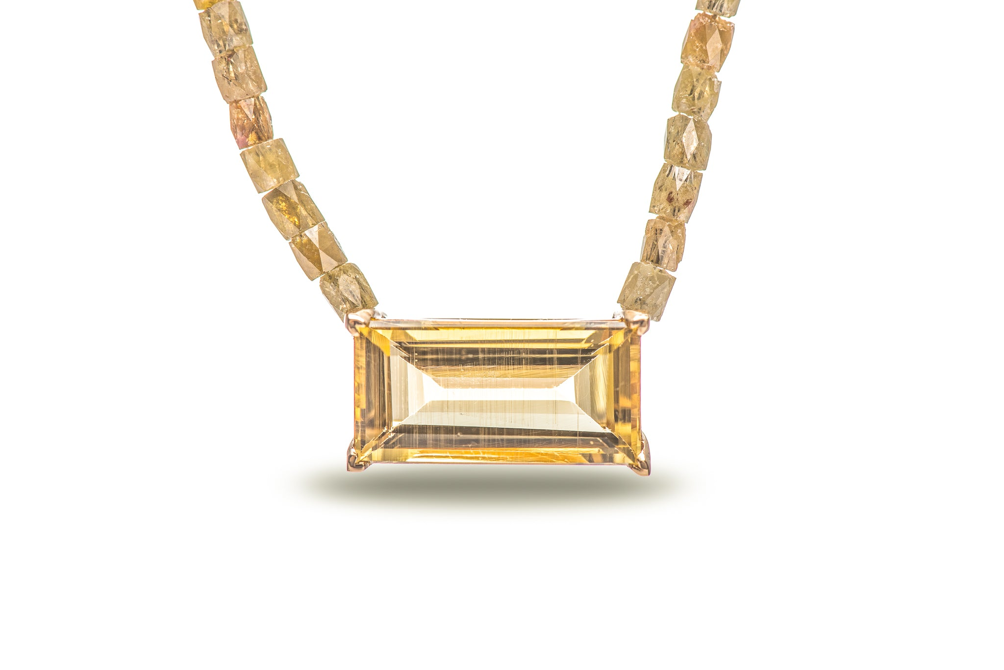 7 Carat Yellow Gold Beryl w/ 10 Carat Yellow Diamond Chain and 18K Yellow Gold Lock