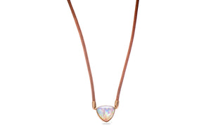 9.34 Carat Opal w/ 18K Yellow Gold Lock and Light Brown Leather Cord