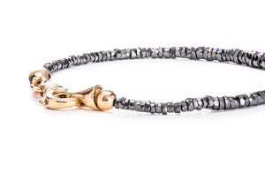 "Black Diamond ""Tire Cut"" Bead Bracelet w/ 18K Yellow Gold Lock"